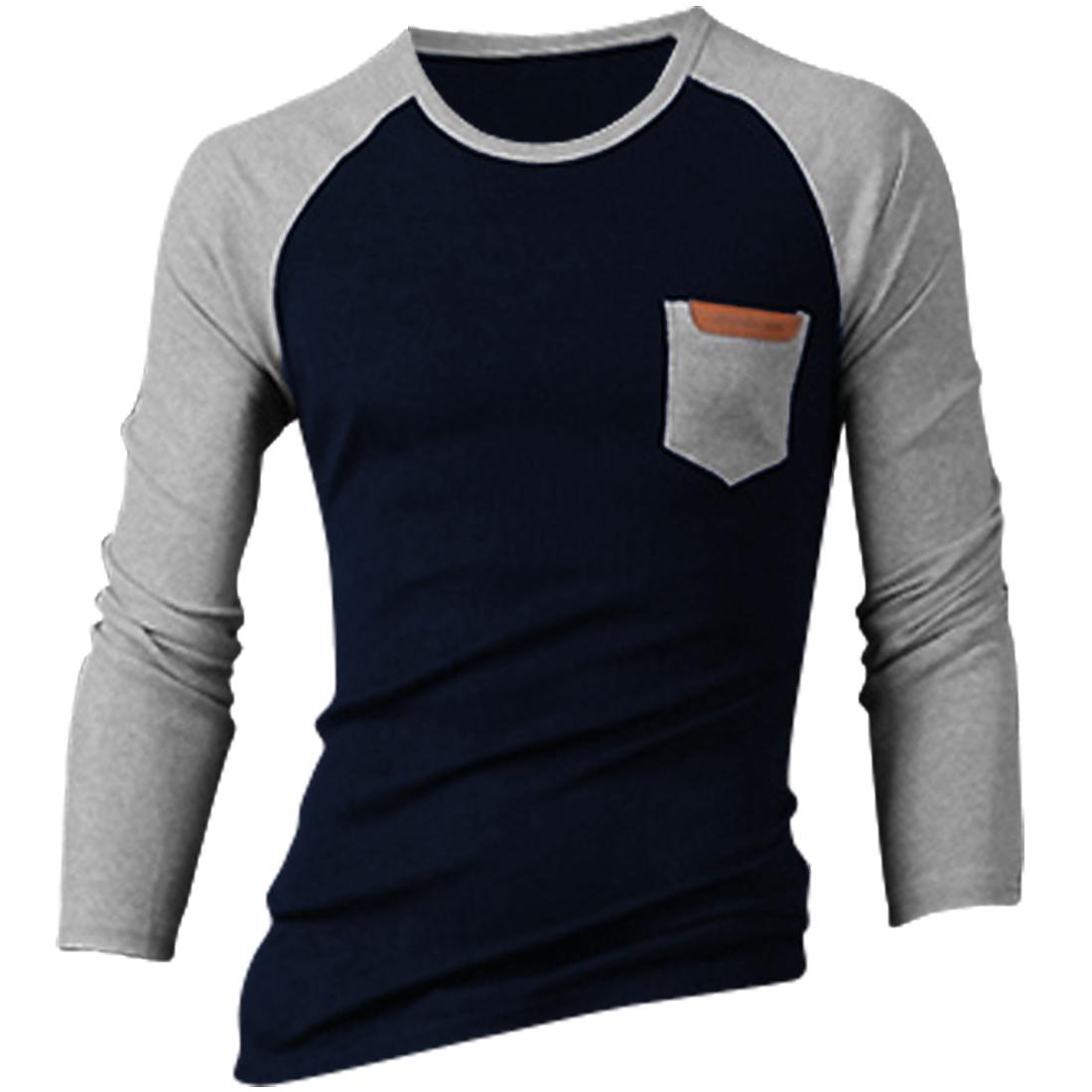 Men Raglan Long Sleeve Small Chest Pocket T-shirt Light Gray Navy Blue M