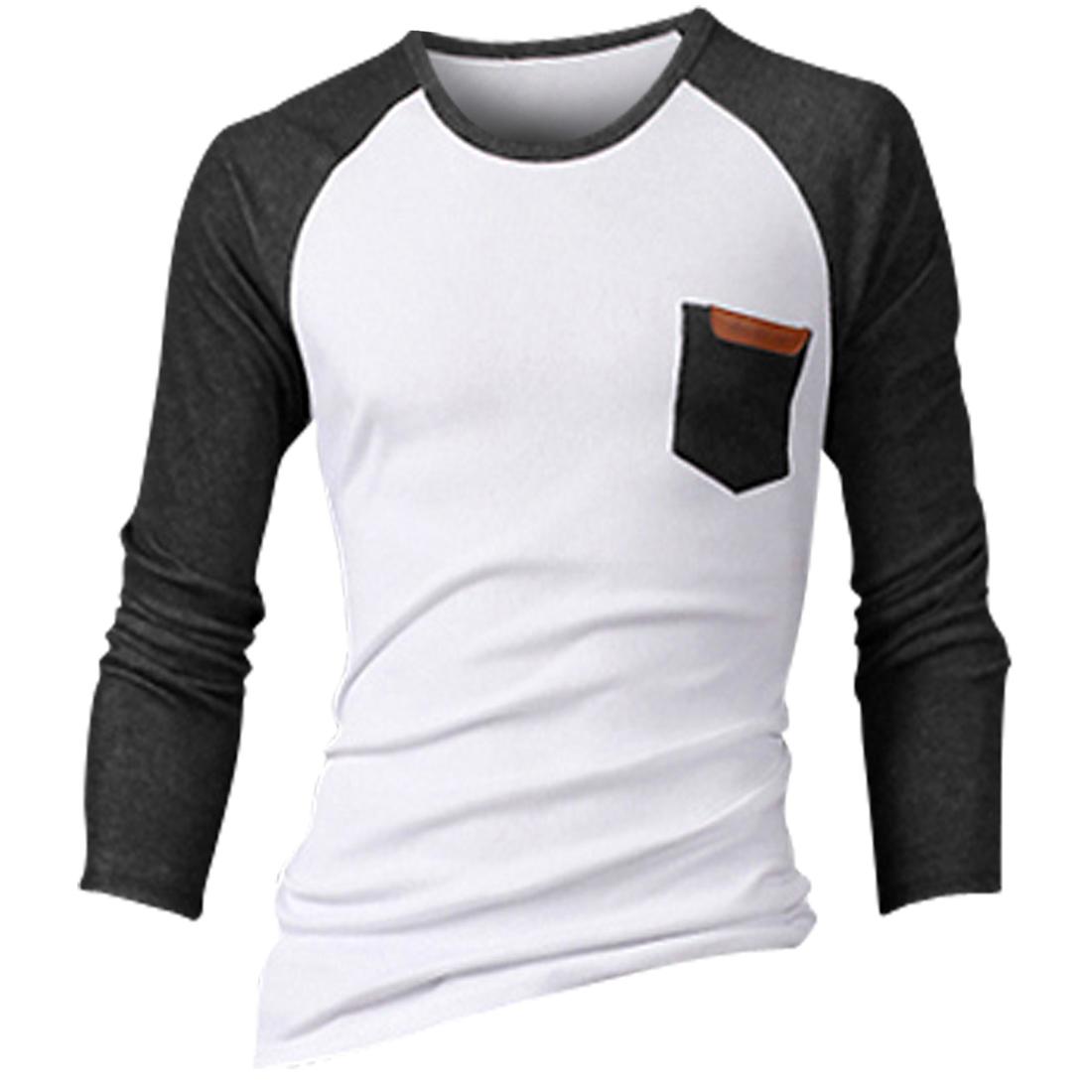 Men Round Neck Raglan Sleeve Pocket Design Chic T-shirt Dark Gray White M