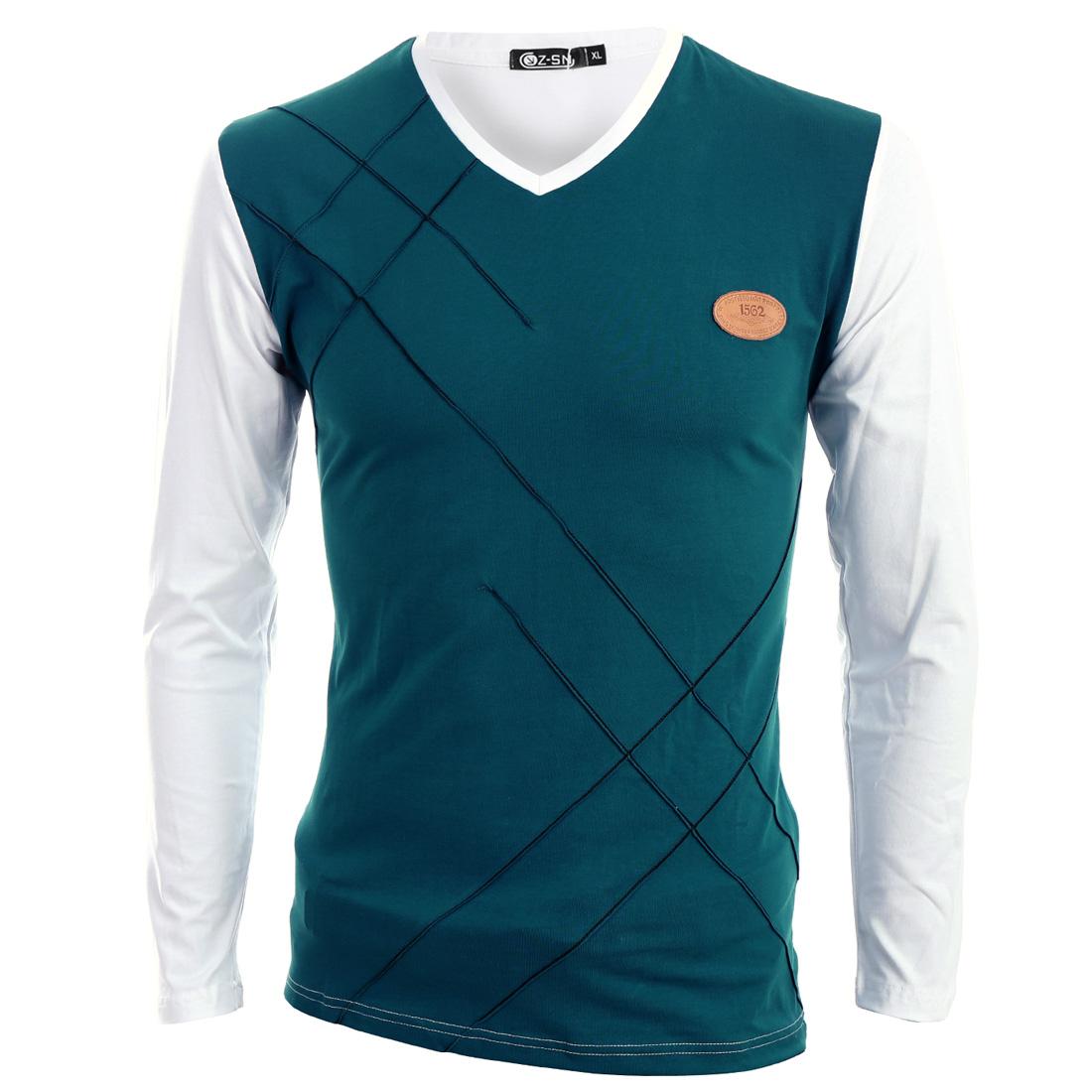 Men Patchwork Long Sleeve Stylish Elastic T-shirt White Turquoise S
