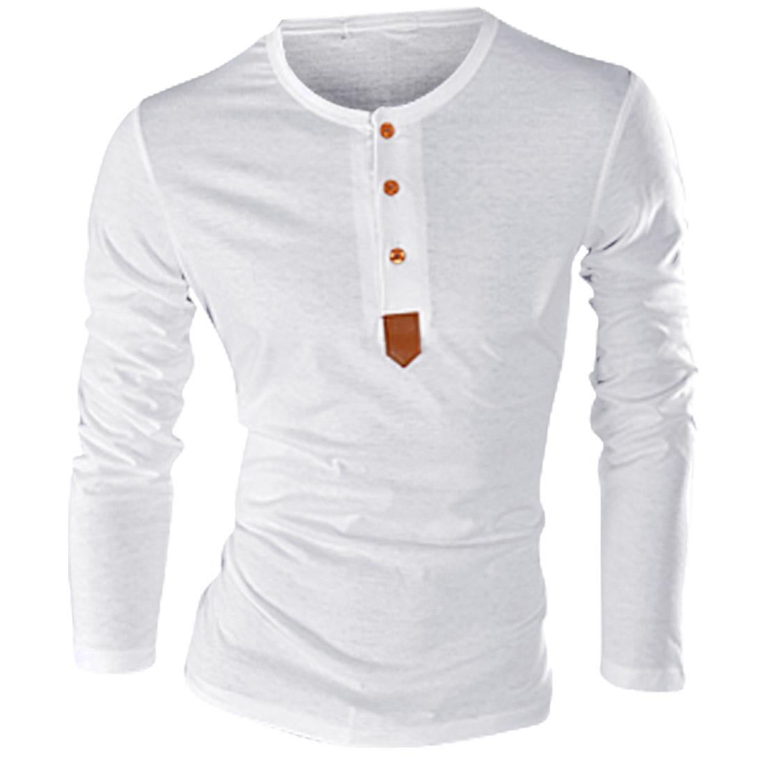 Men Long Sleeved 1/2 Placket White Slim Shirt S