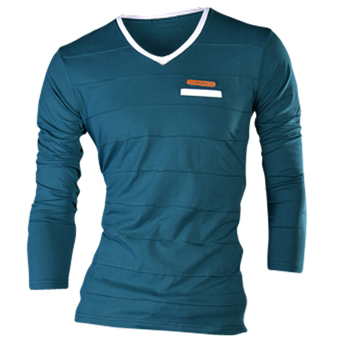 Men Shirred Design Long Sleeved Casual Turquoise Shirt S