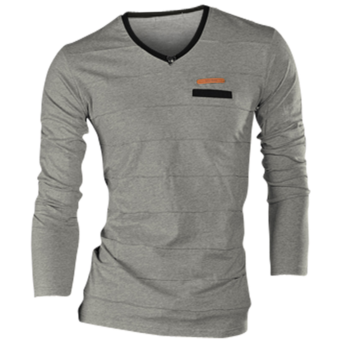 Men Faux Leather Detail V-Neck Slim Gray Tee Shirt S