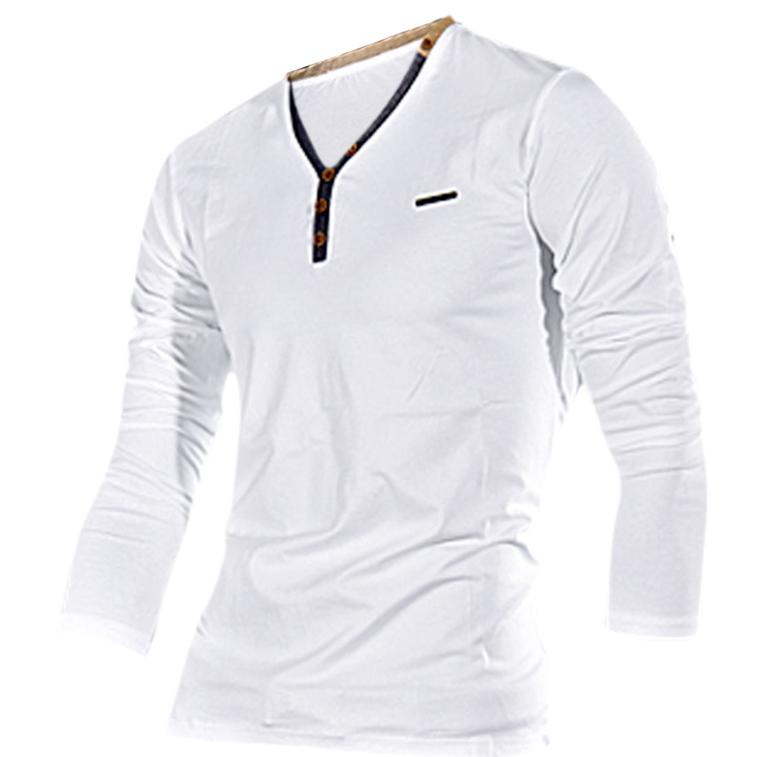 White Color Buttons Decor Front Slim Fit T-Shirt for Man S