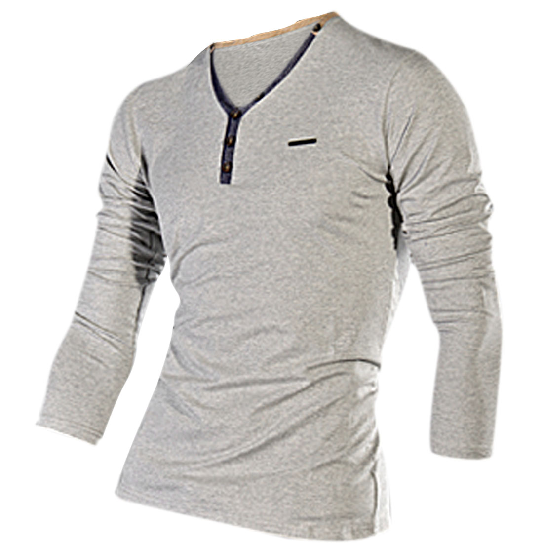 Man Heather Gray Color Spliced Detail V-Neck Long Sleeve Top Shirt S