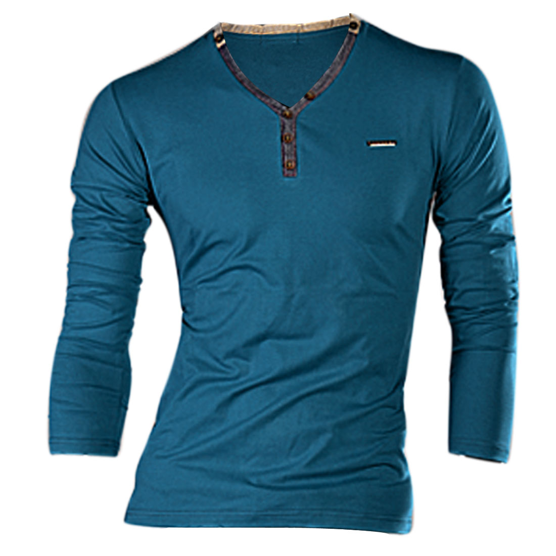 Man Fancy Teal Blue Color Buttons Decor Front Slim Fit Casual T-Shirt S