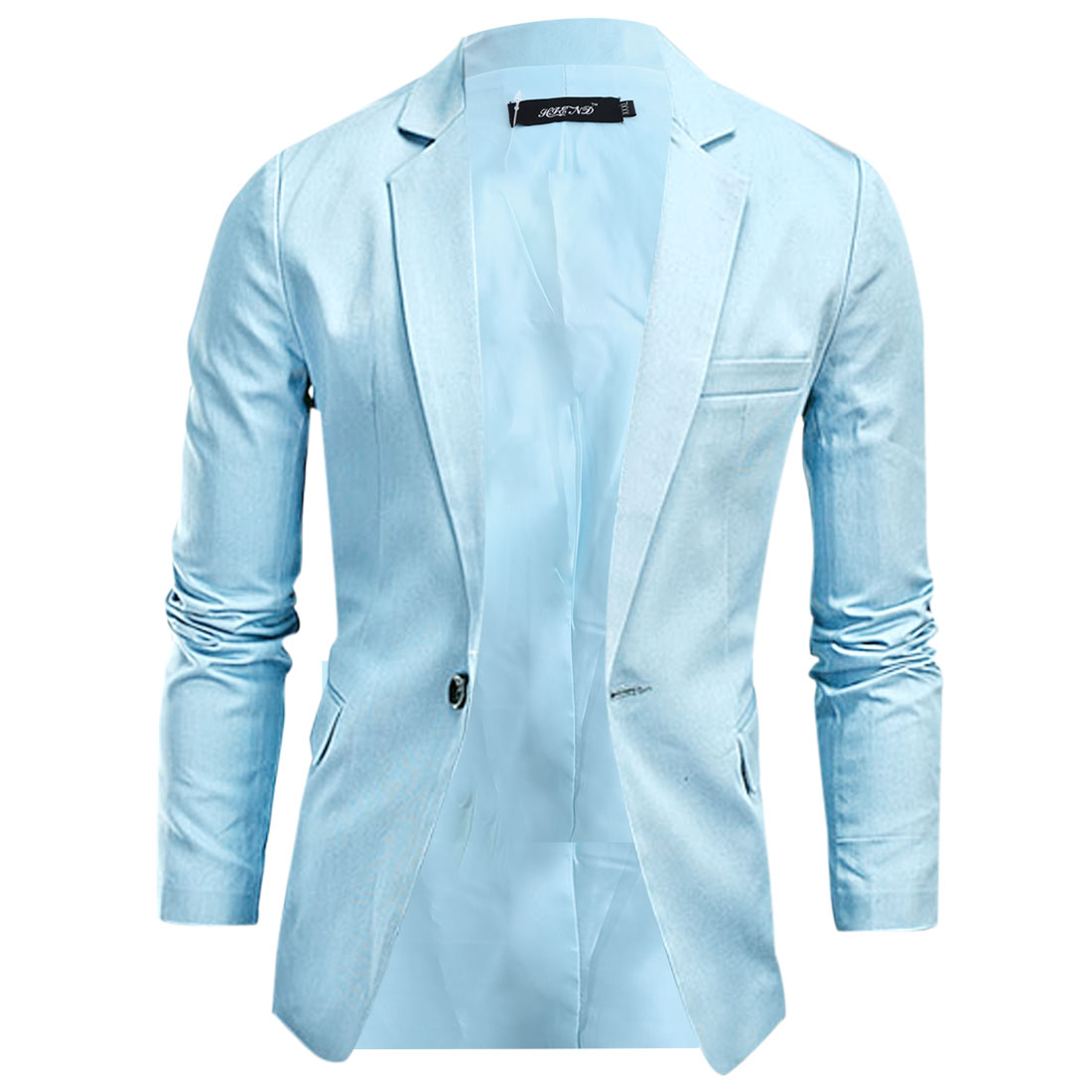 Man Notched Lapel Long Sleeve Padded Shoulder Light Blue Blazer Jacket M
