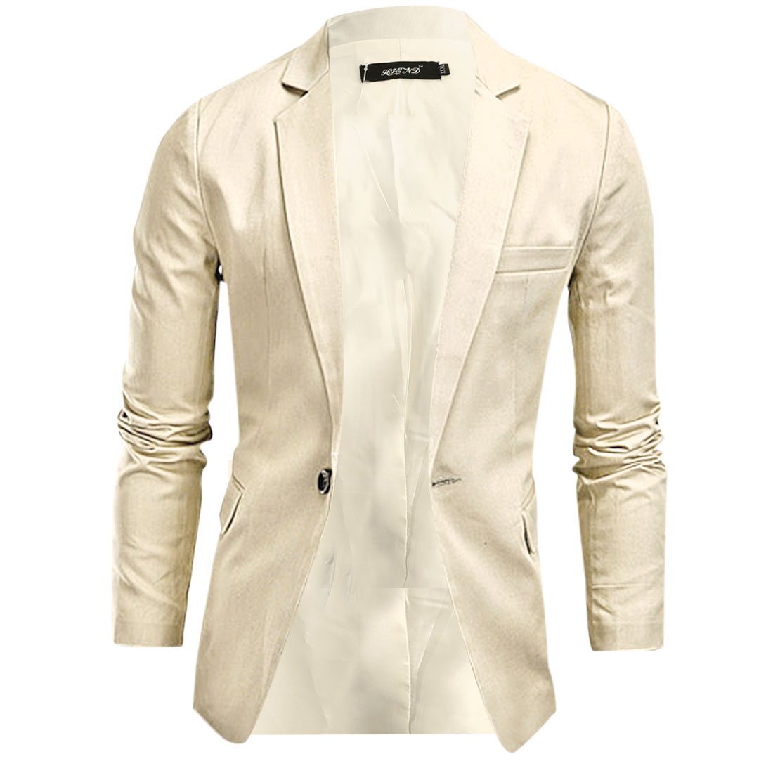 Men Pure Khaki Color One-Button Closure Slim Fit Blazer Jacket M