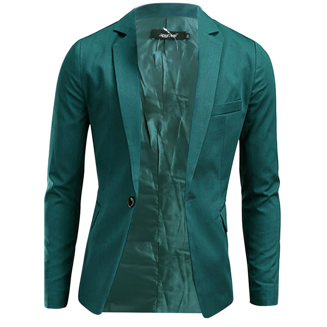 Chic Dark Green Slim Fit One-Button Closure Blazer Jacket for Man M