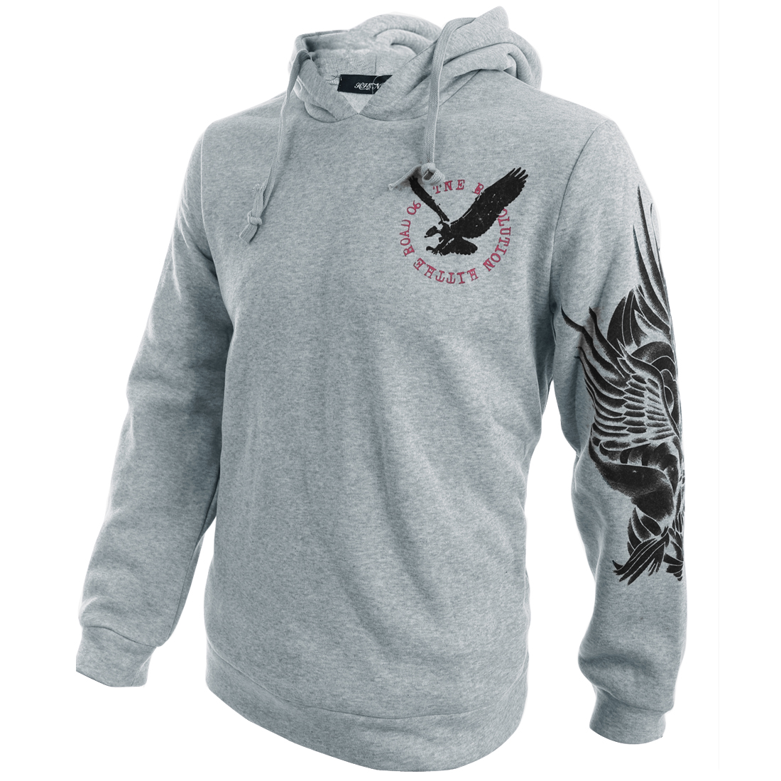 Man's Eagle Letters Printed Light Gray Hoodie M