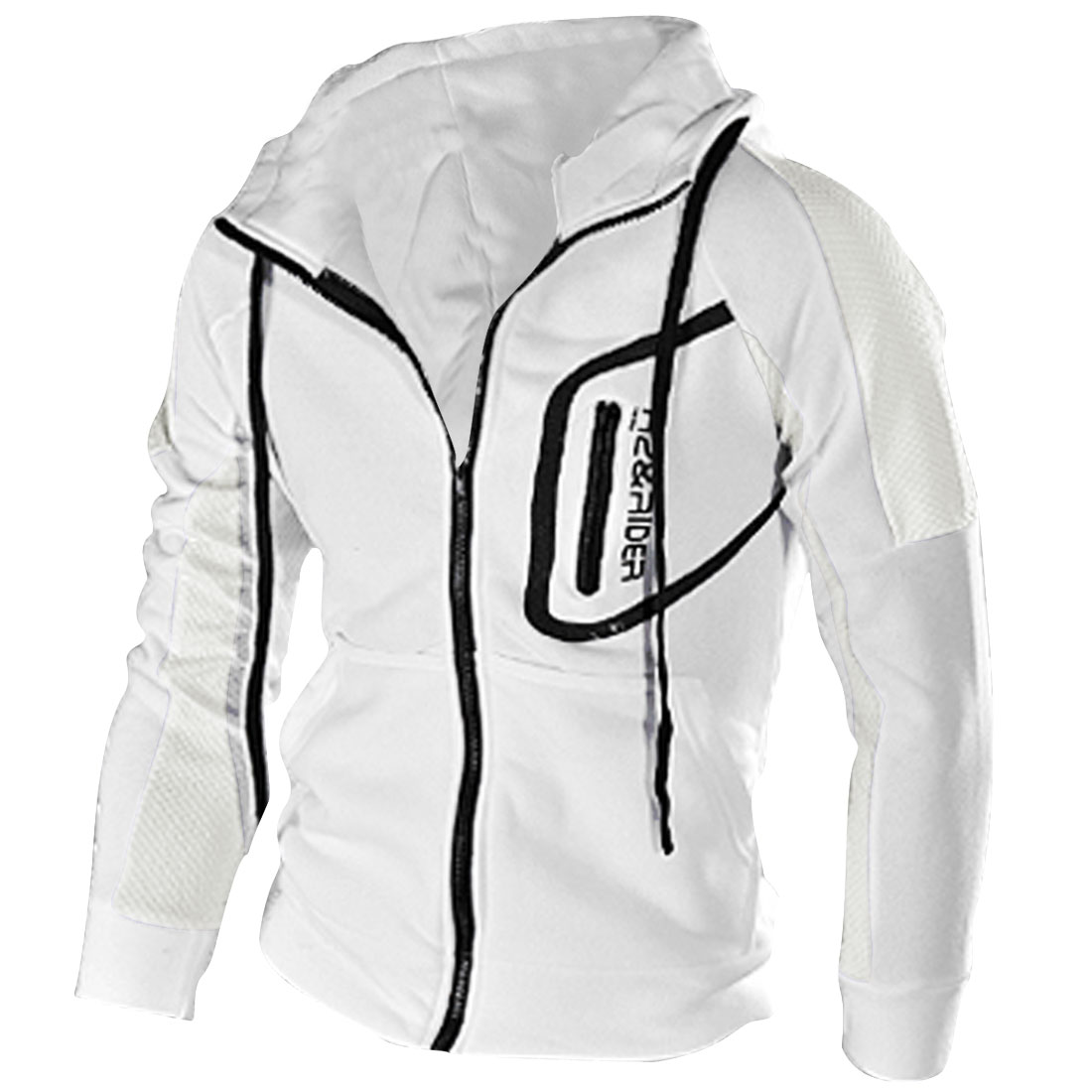 Men Hooded Zip Front Letter Prints Two Pockets Hoodies White S