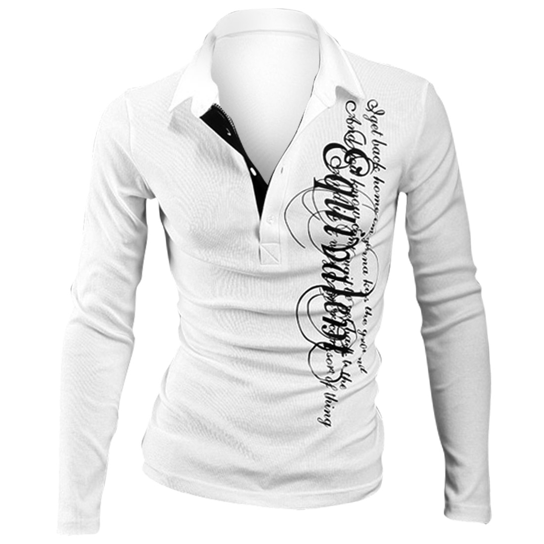 Man Convertible Collar Long-sleeved Letter Prints White Polo Shirt M
