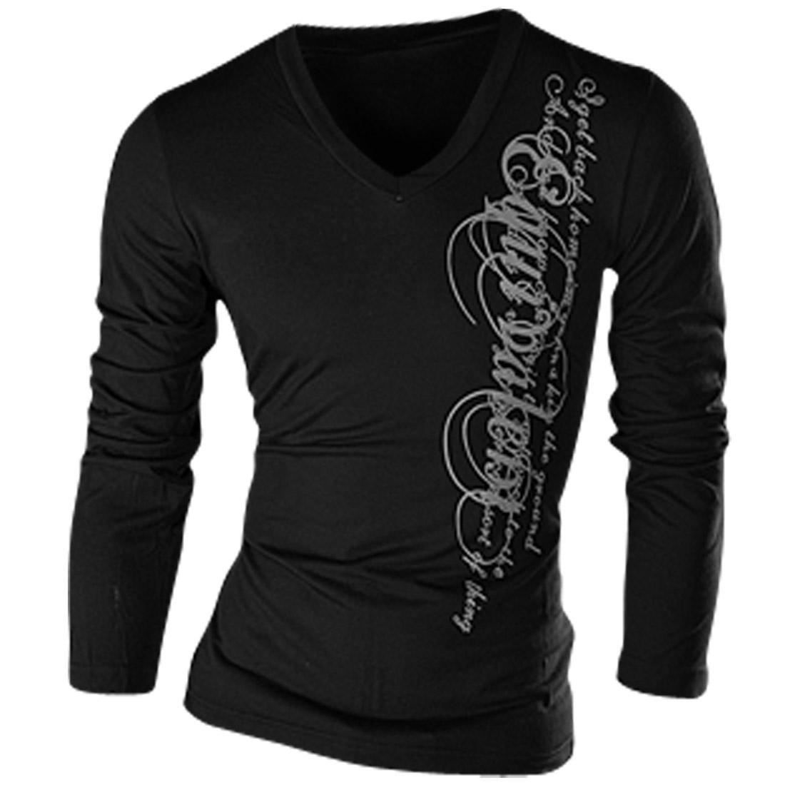 Man V Neck Long-sleeved Letter Pattern Pullover Black Tee Shirt M