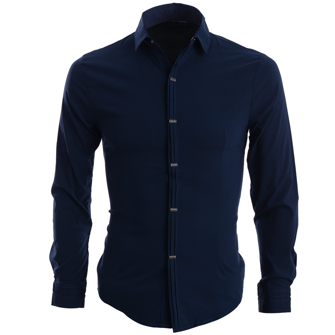 Men Point Collar Long Sleeve Ruched Detail Stylish Shirt Navy Blue S
