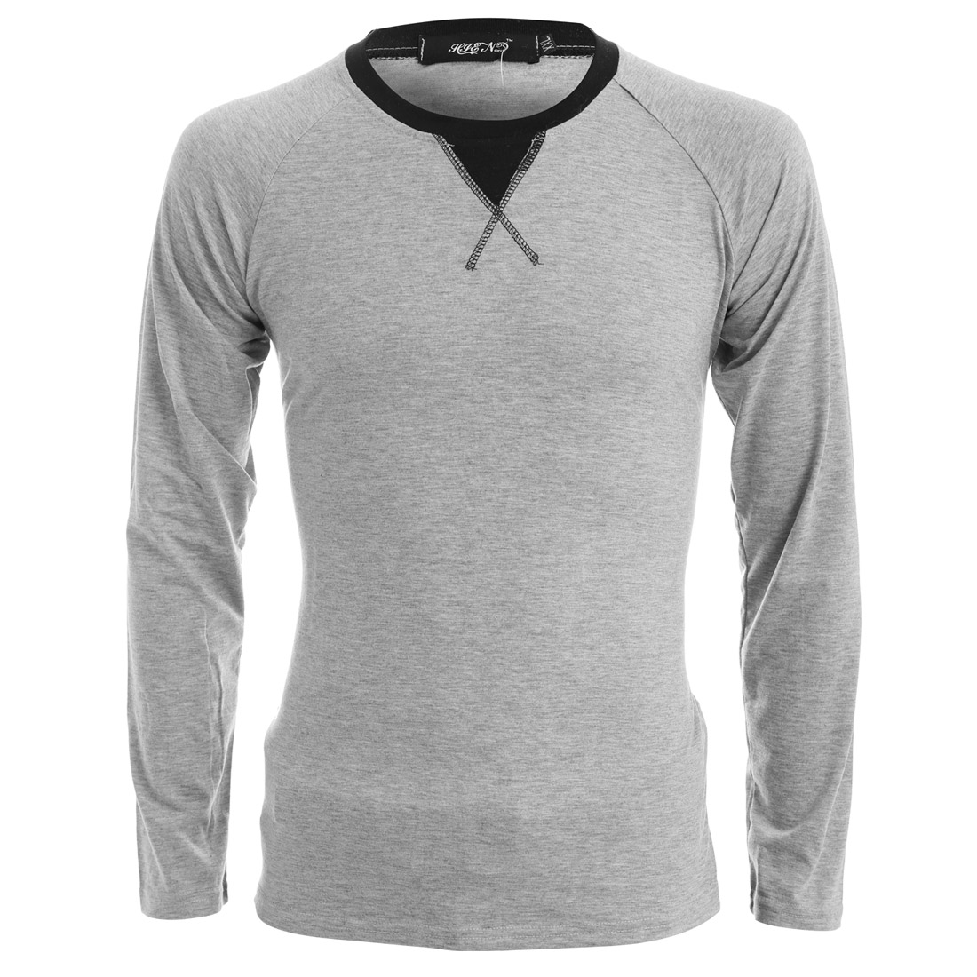Man Round Neck Long Sleeve Stretchy Light Gray T-Shirts S