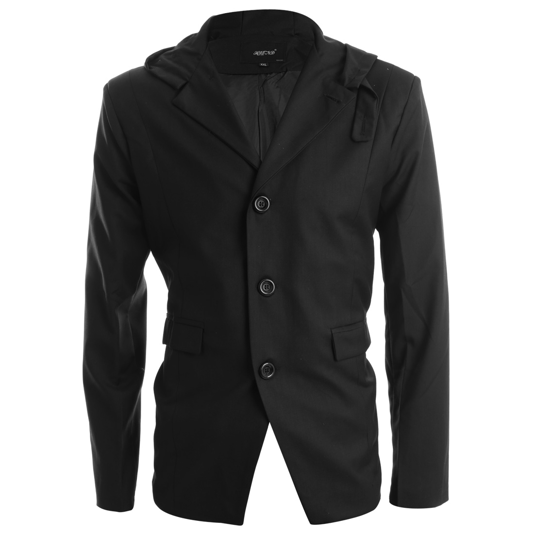 Man Hooded Long-sleeved Single Breasted Pockets Decor Black Jacket M