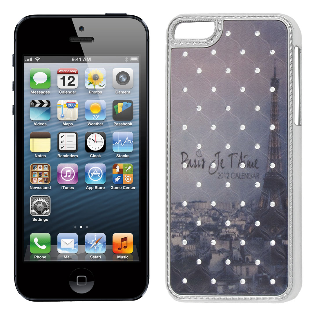 Bling Rhinestones Detail Chrome Plate Back Case Protector for Apple iPhone 5 5th