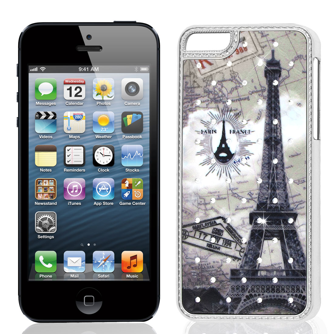 Bling Faux Rhinestones Inaid Gray Tower Pattern Back Cover Case for iPhone 5 5G