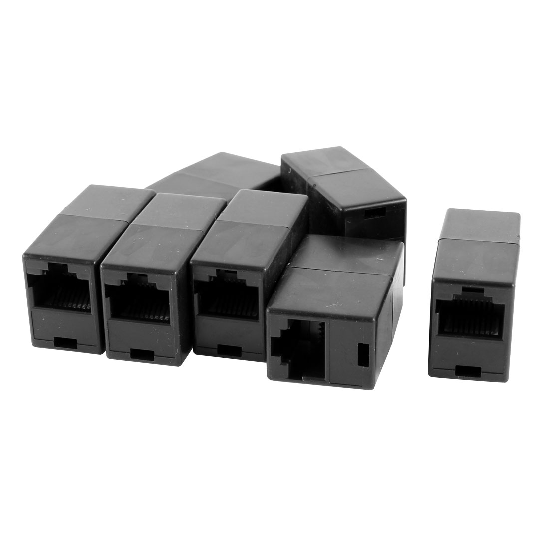 7 Pcs Black 8P8C RJ45 to RJ45 Female/Female Ethernet Inline Connector Coupler