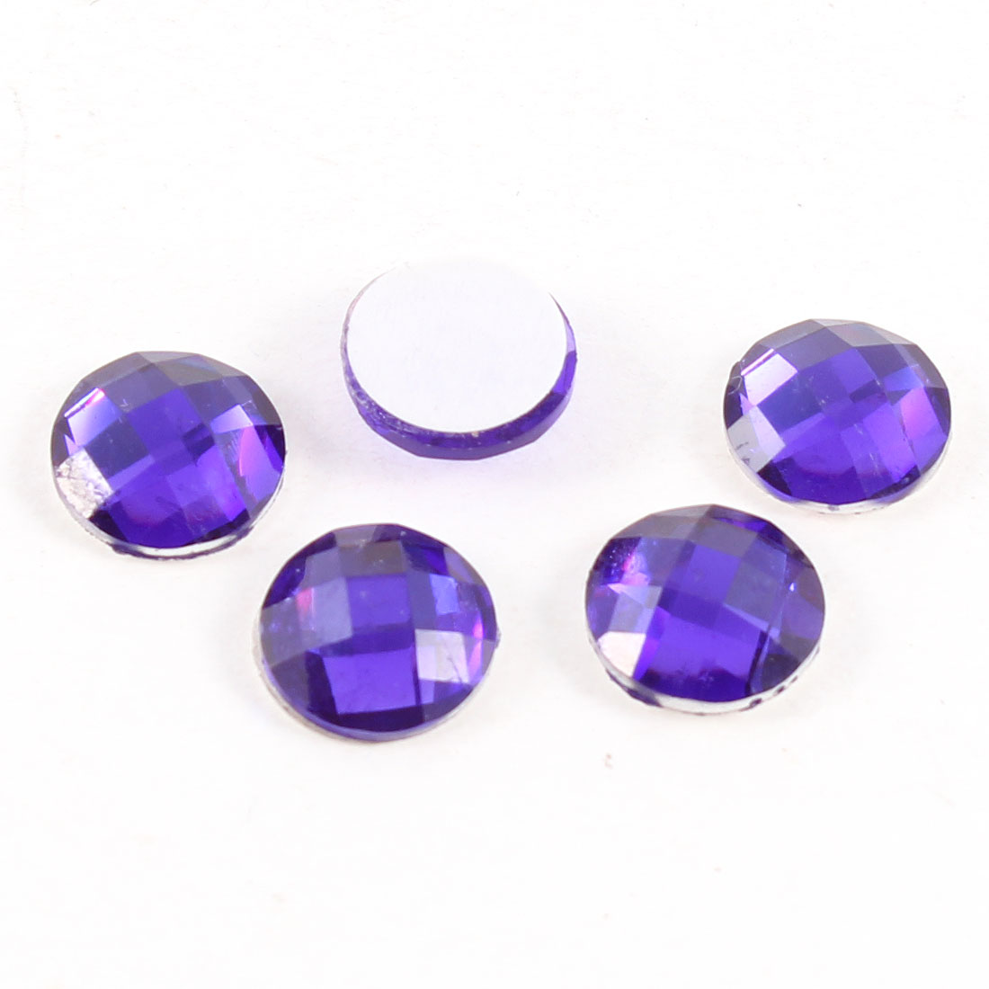 5Pcs Round Purple Plastic Crystal Home Button Stickers for Smart Phone