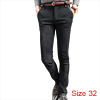 Men One Button Up Slant Pockets Front Fashion Pants Dark Gray W32