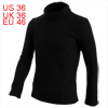 Man Fashion Pure Black Color Textured Design Turtleneck Sweater S