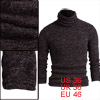 Men Turtle Neck Long Sleeved Slim Brown Knit Shirt S