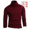 Men Stretchy Long Sleeved Pullover Burgundy Knit Shirt S