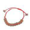Red Handmade Nlyon Braided Rope Faux Copper Coin Decor Pull Up Wrist Bracelete