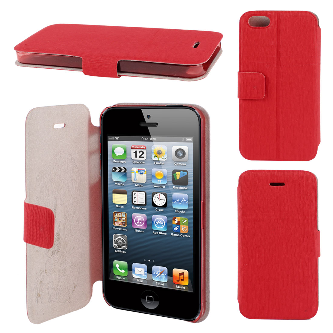 Textured Red Faux Leather Magnetic Flap Flip Case Cover Guard for iPhone 5 5G