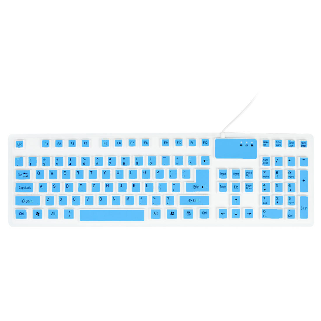 Flexible Silicone Waterproof 106 Keys USB Keyboard Blue White for PC Laptop