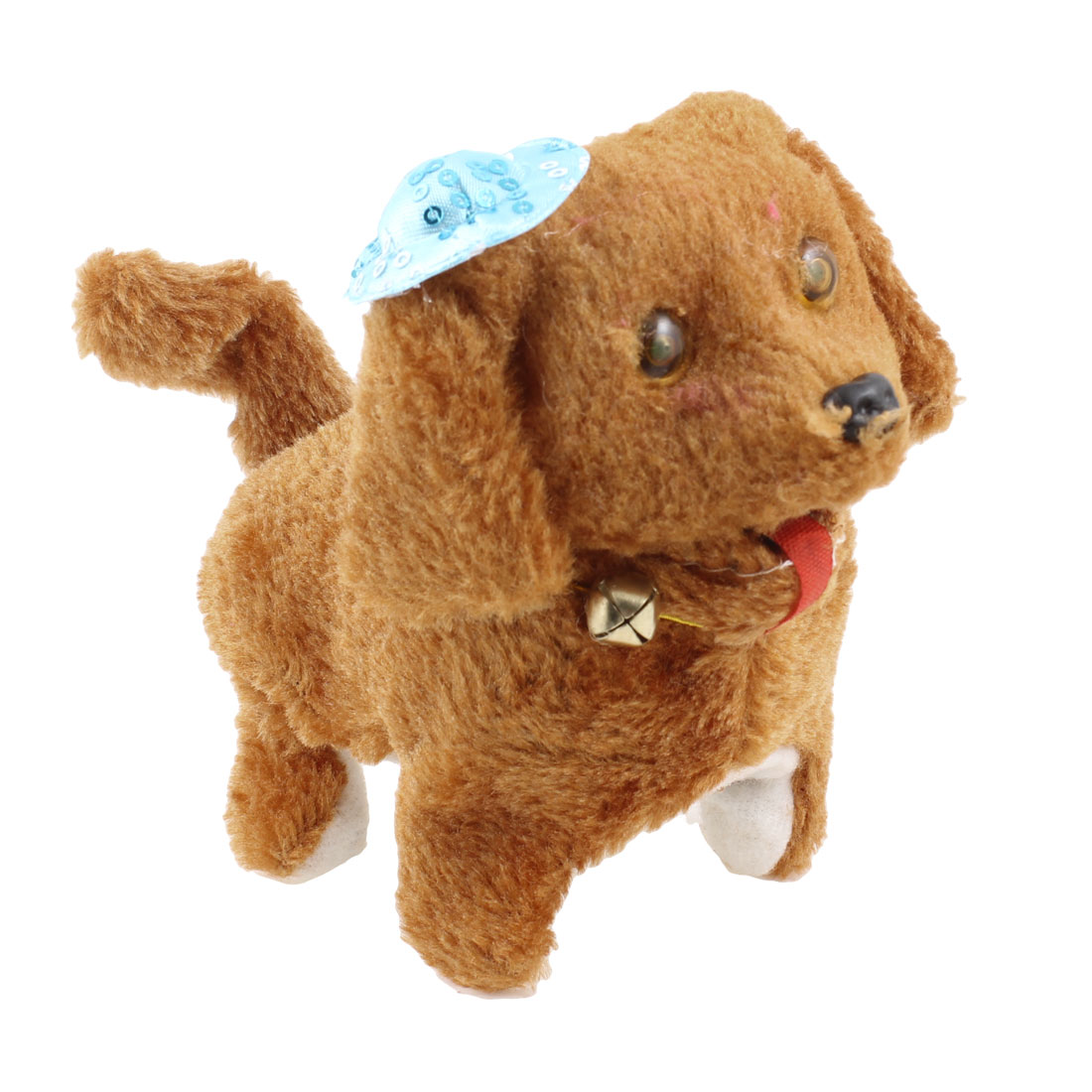 Blue Hat Detail Brown Plush Walking Sound Electronic Dog Toy for Child