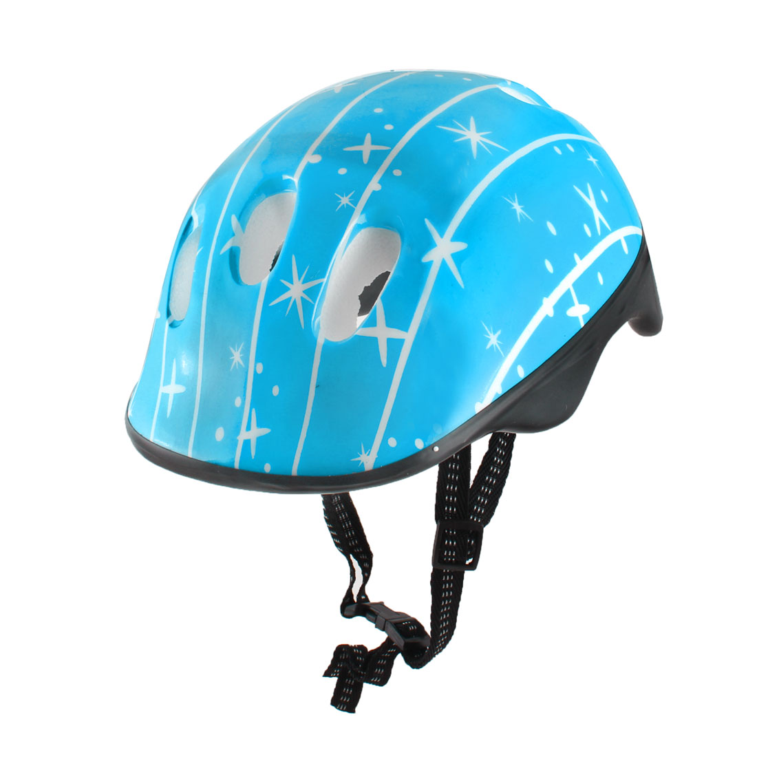 Adjustable Nylon Straps Blue Plastic Shell Foam Inside Skating Helmet