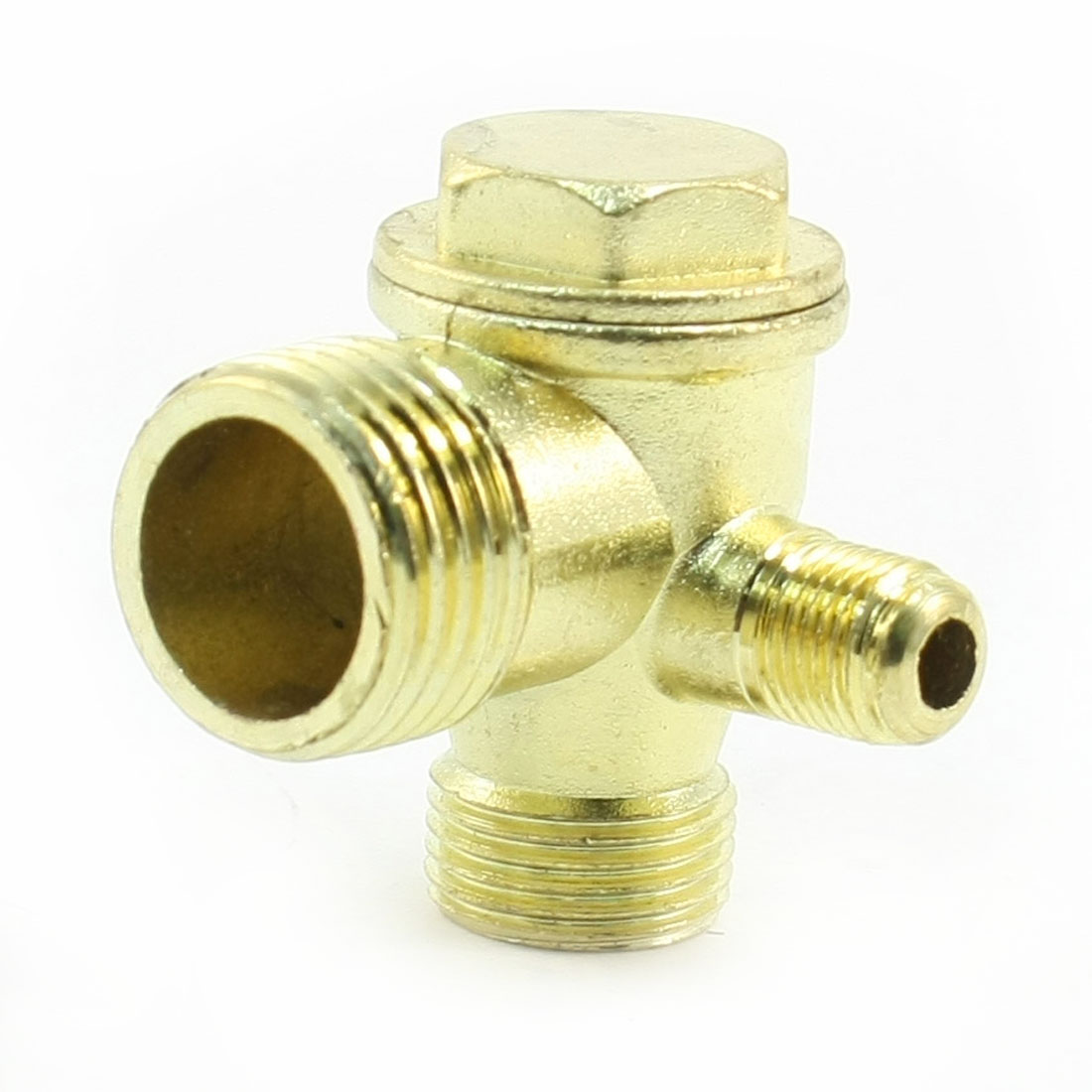 Copper Tone 3-way Air Compressor Fittings Threaded Check Valve
