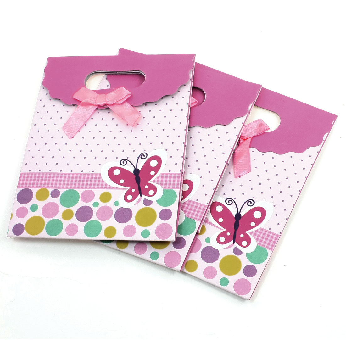 3 Pcs Dots Printed Bowknot Fuchsia Foldable Gift Bag Storage Case