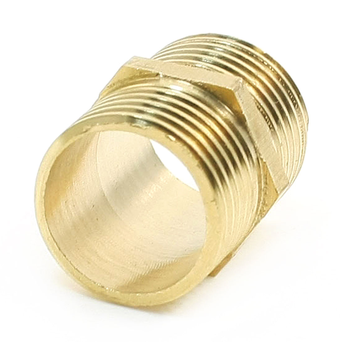 Gold Tone Male Thread 3/8 PT to 3/8 PT Hex Nipple Connector