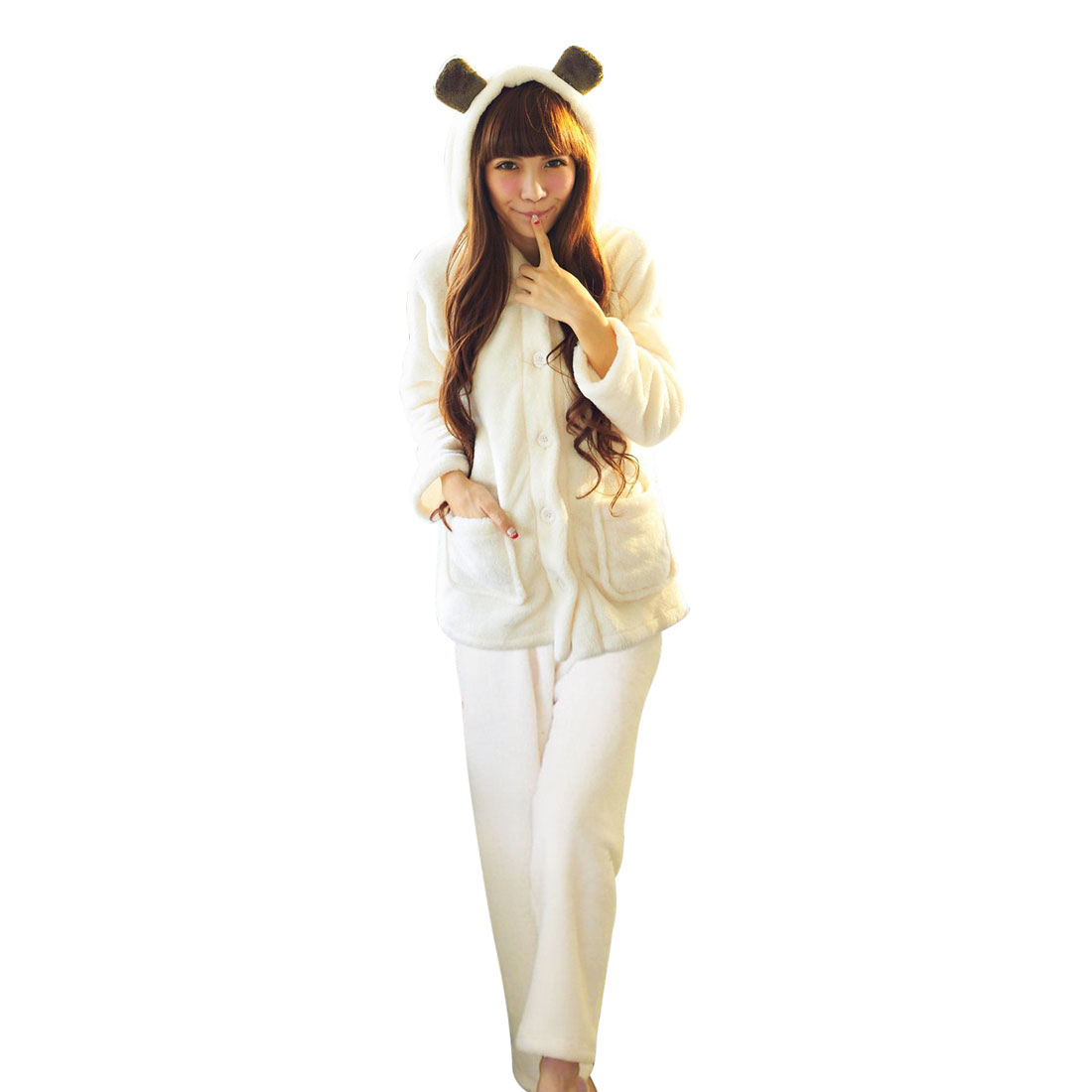Couples Woman Hooded Winter Button Closure Leisure Pajama Sets White S