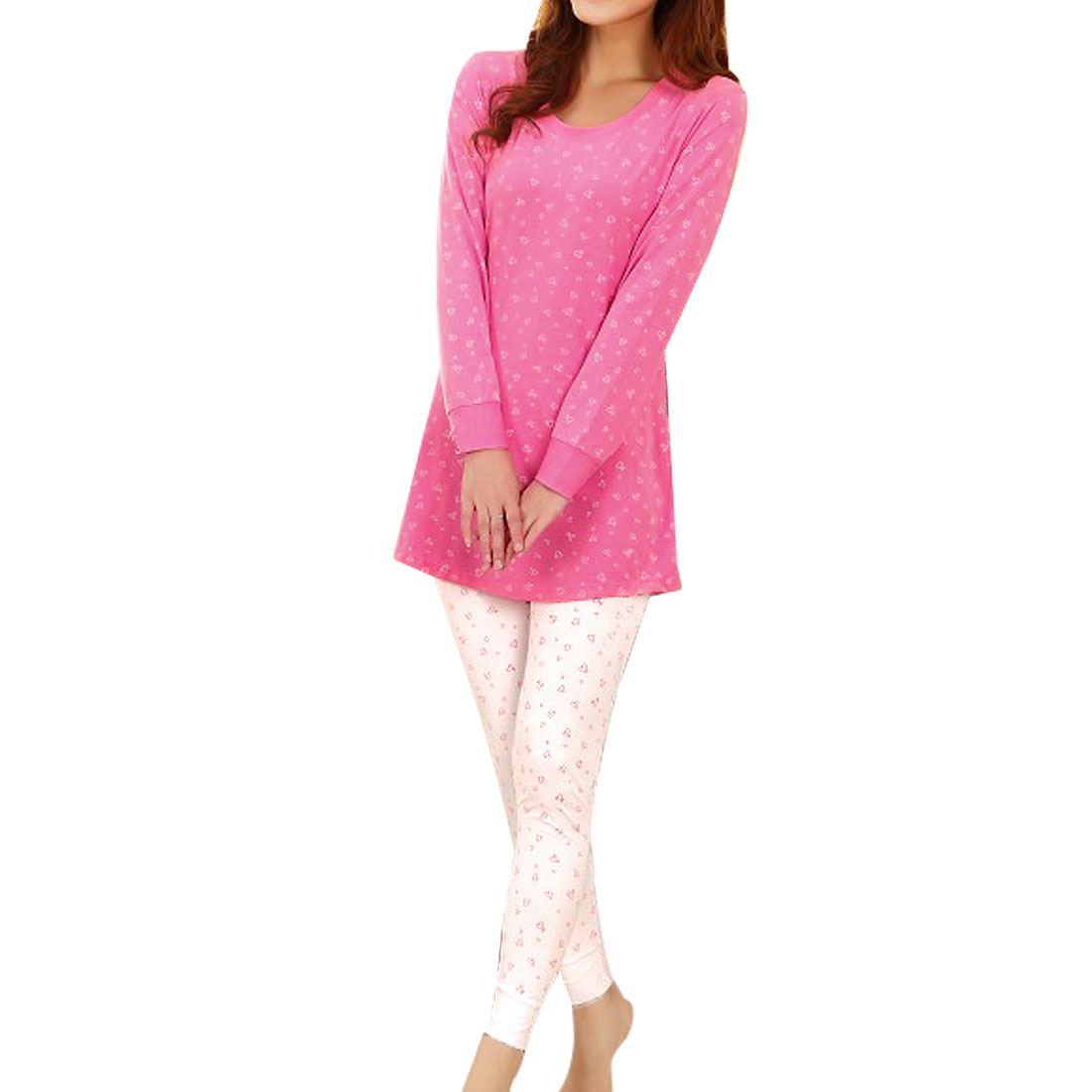 Woman Autumn Round Neck Heart Pattern Pajama Sets Fuchsia White XS