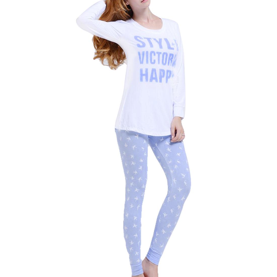 Woman Autumn Long Sleeve Letter Pattern Sleepwear Suits Pale Blue XS