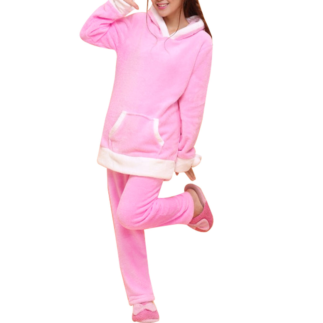 Winter Warm Long Sleeve Hooded Top w Elastic Waist Pants M Pink White for Woman