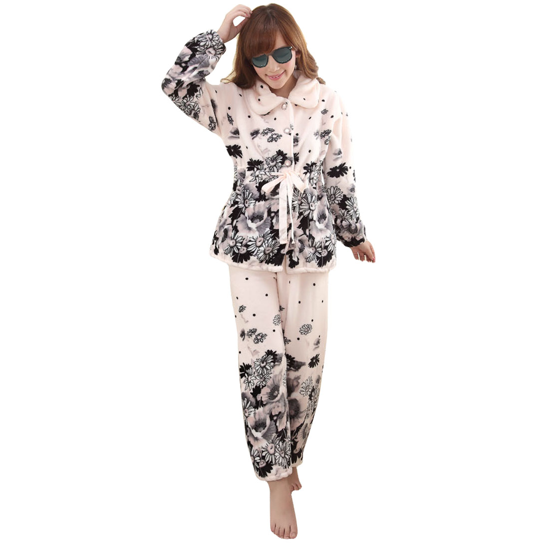 Point Neck Floral Pattern Sleep Dress Pajama Sets Pale Pink S for Ladies