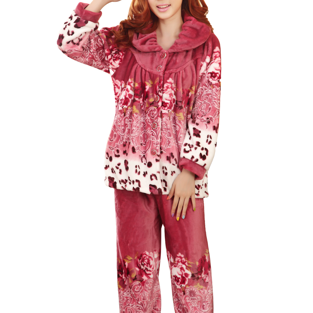 Woman Winter Point Collar Button Closure Long Sleeve Pajama Sets Amaranth M
