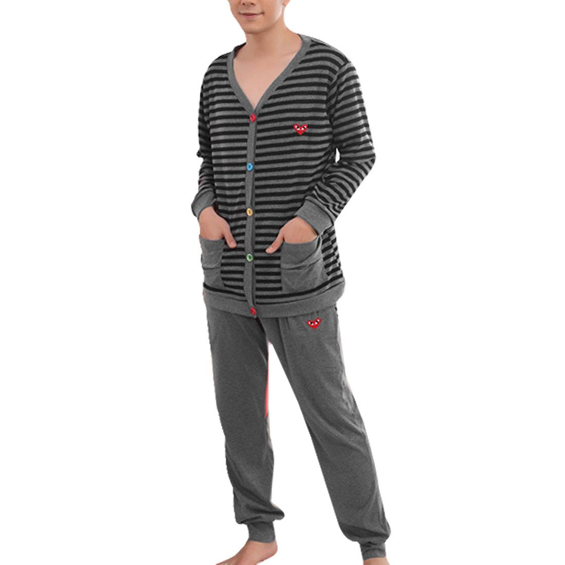 Men Patch Pocket Stripes Print Top + Cartoon Design Pants Suits Gray Navy Blue L