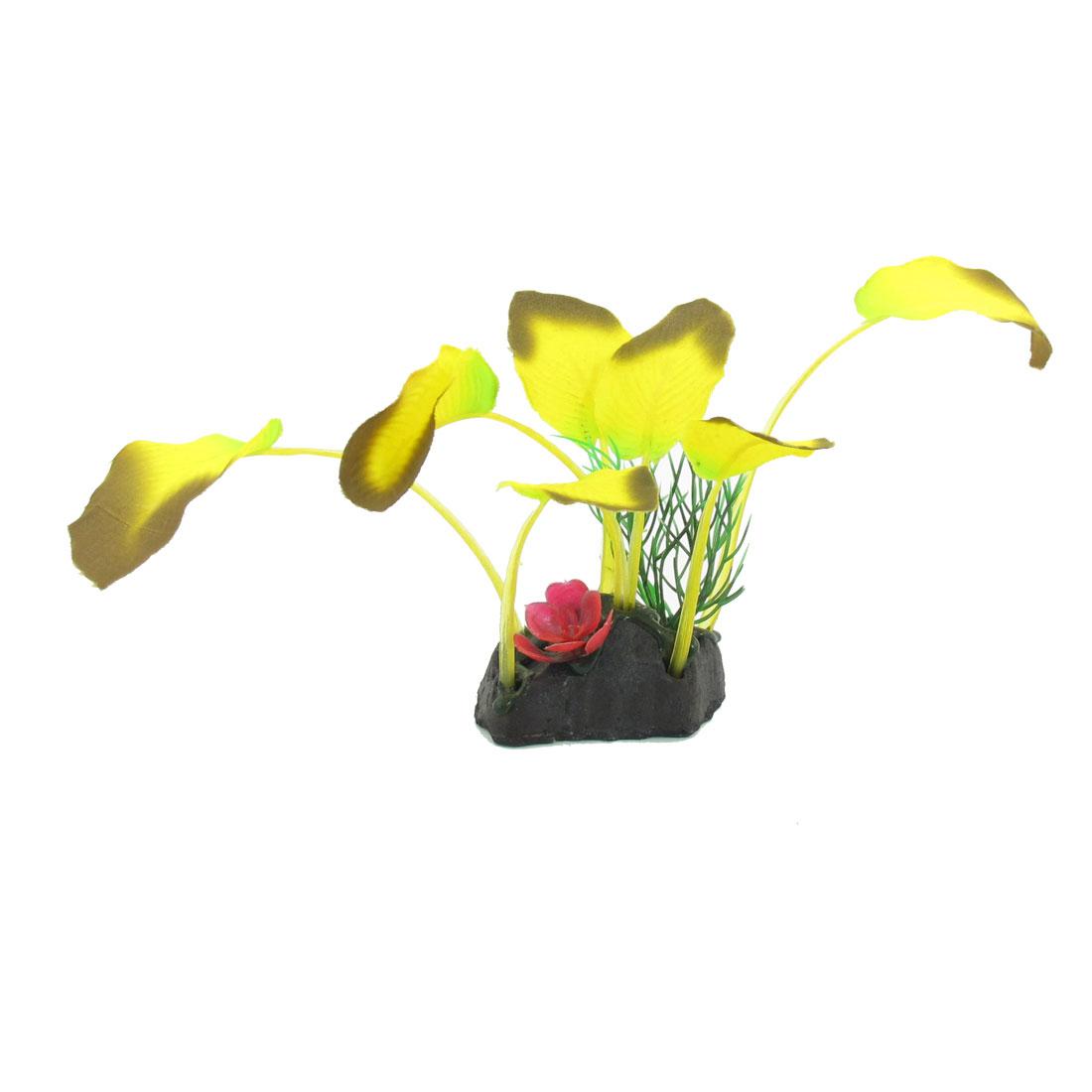 """5.1"""" High Red Flower Yellow Leaf Plastic Underwater Plant Aquarium Decor"""