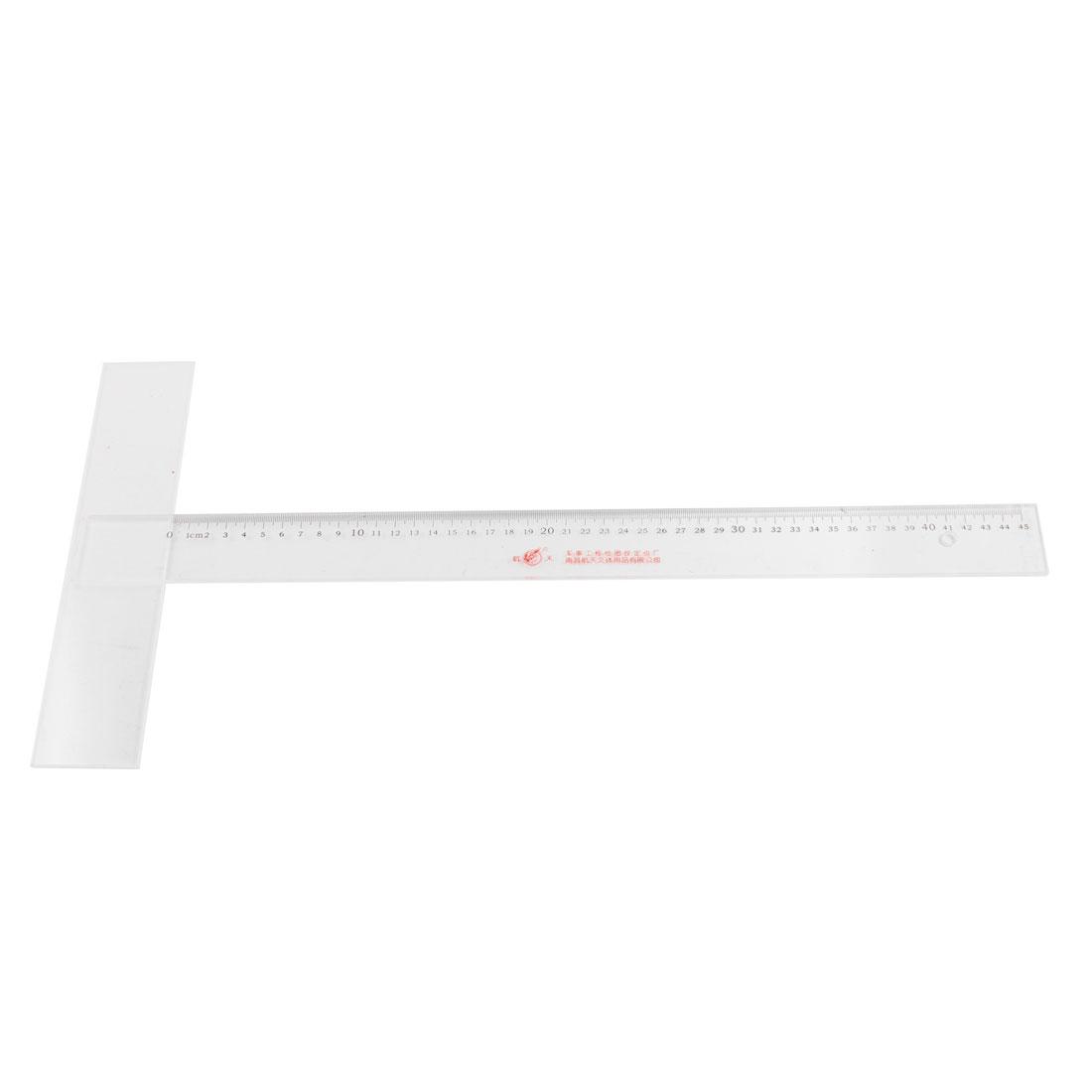School Office Black Clear 45cm Measurement Tool Ruler Rule