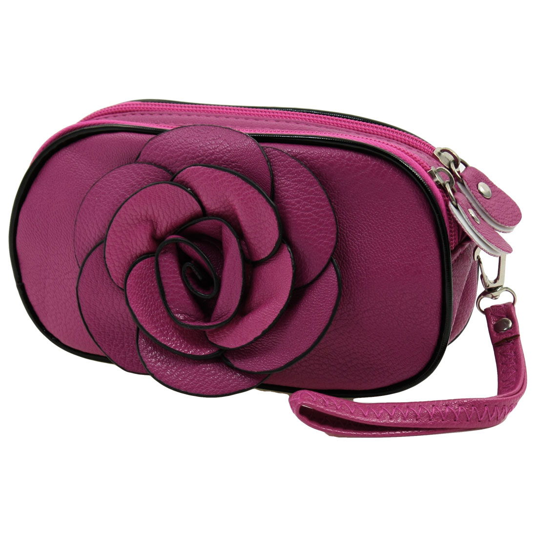Woman Fuchsia Flower Faux Leather 3 Pockets Zipper Closure Purse Bag