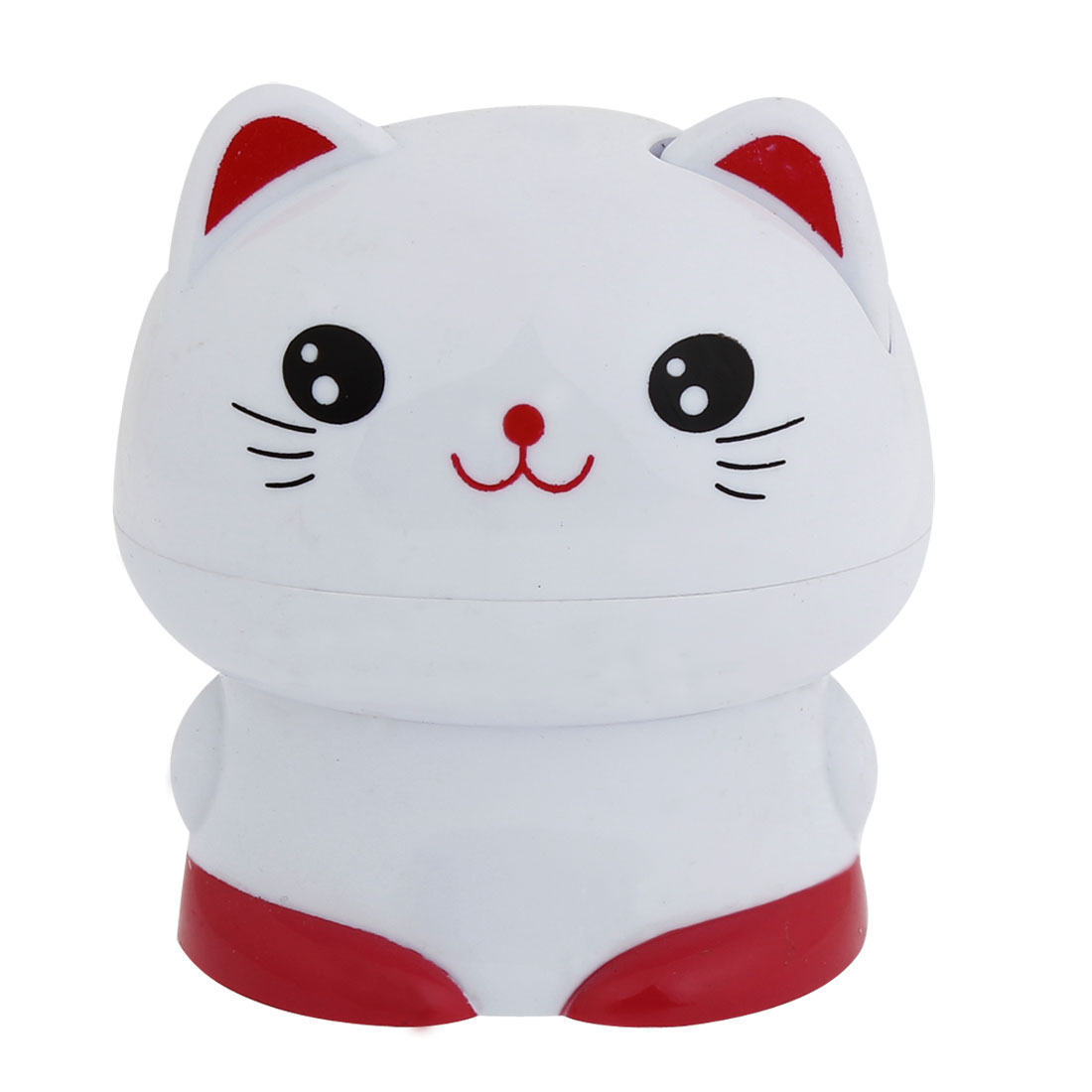 Cat Shaped White Red Plastic Automatic Toothpick Holder Case