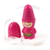 Home Travel Cartoon Pattern Pocket Battery Operated Cooling Fan Fuchsia