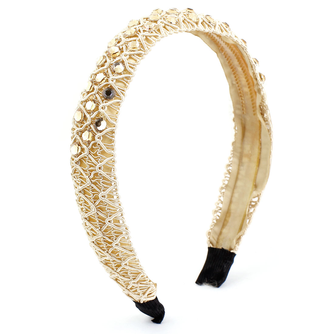 Women Polyester Coated Plastic Crystal Decor Hair Hoop Headband
