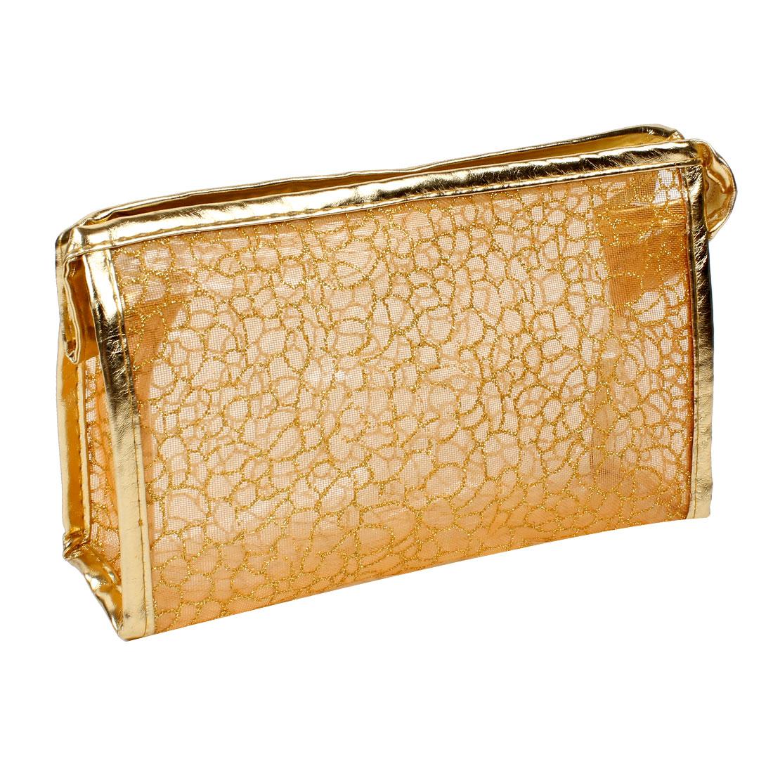 Women Rectangle Gold Tone PVC Lining Waterproof Cosmetic Bag Handbag