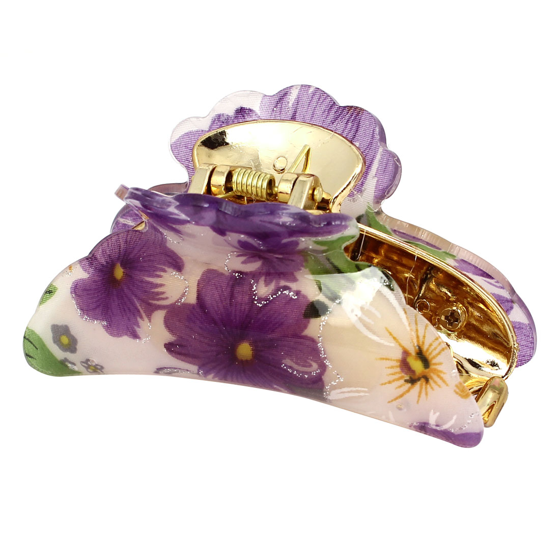 Women Purple Flower Print Plastic Hair Claw Clamp Clip
